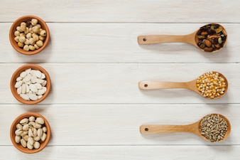 Bowls and spoons with seeds and nuts