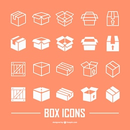 Box flat icons collection