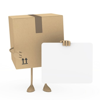 Box posing with a blank placard