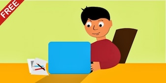 Boy character with blue laptop