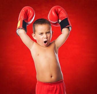 Boy gesturing person muscular fitness
