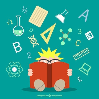Boy learning science vector