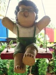 boy swing garden decoration