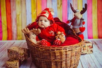 Boy toddler in hoodie sitting in basket