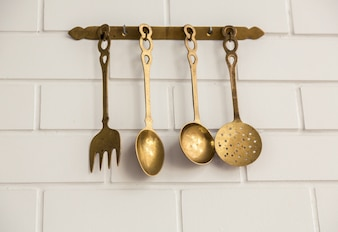 Brass kitchen utensils