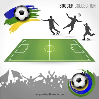 Brazil football elements vector