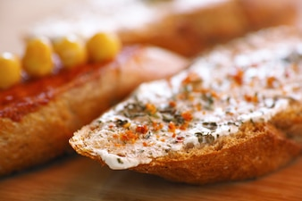 Bread with spice cheese and spices