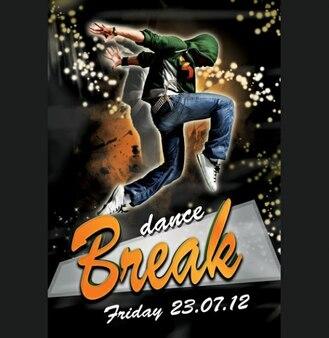 break dance party flyer design psd