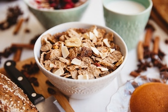 Breakfast decoration with bowl of cereals
