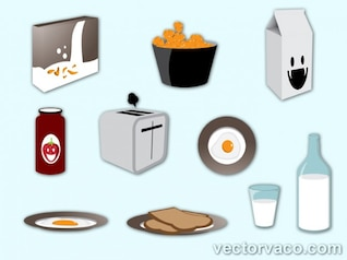 Breakfast elements vector set