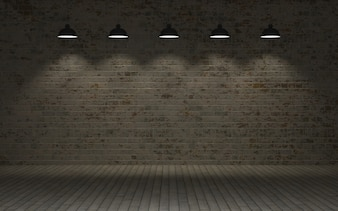 Brick wall with lamps