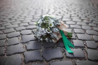 Bridal bouquet on stones