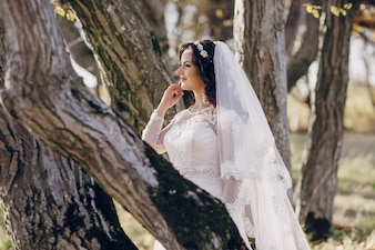 Bride among trees