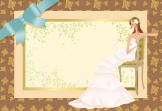 Bride on wedding invitation background