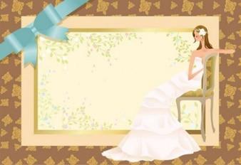 Bride on wedding invitation background