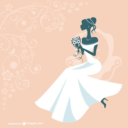 Bride silhouette vector design