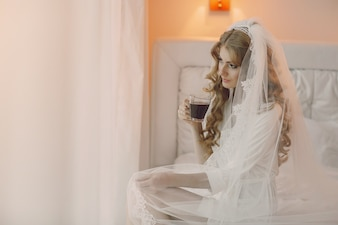 Bride with a coffee