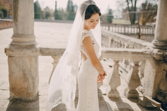 Bride with folded hands