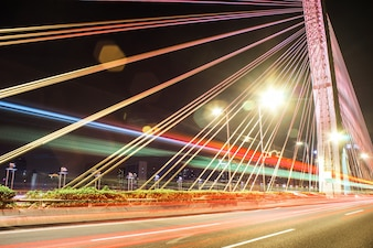 Bridge at night with lights