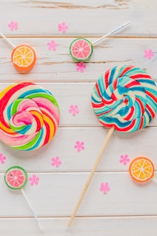 Bright candy lollipops