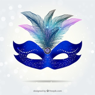 Bright carnival mask in electic blue tone