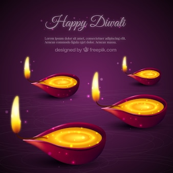 bright diwali candles background