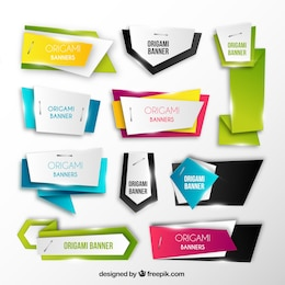 Bright origami banners collection
