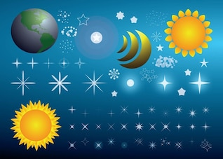 Bright universe vector with stars