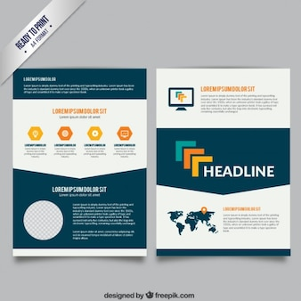 Brochure template in white and navy blue colors
