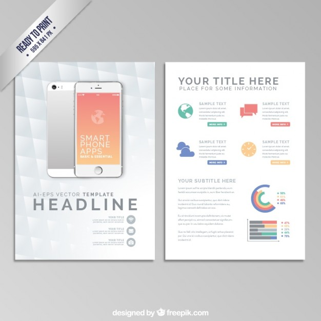 Brochure template with a smartphone