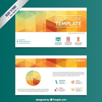Brochure template with colorful triangles