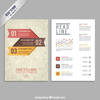Brochure template with geometric pattern
