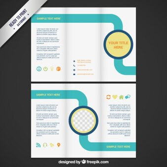 Brochure template with turquoise line