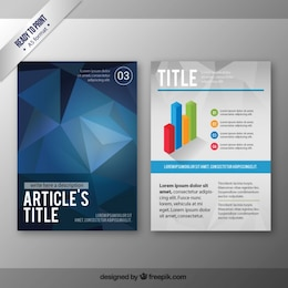 Brochure with blue polygons