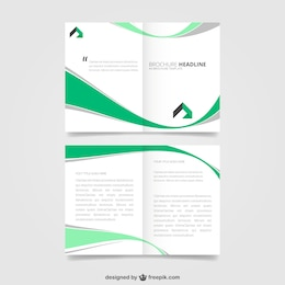 Brochure with green waves design