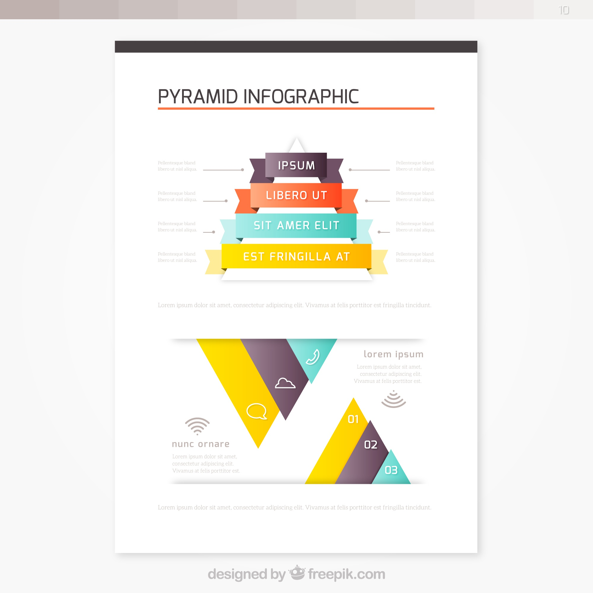 Brochure with pyramid infographic