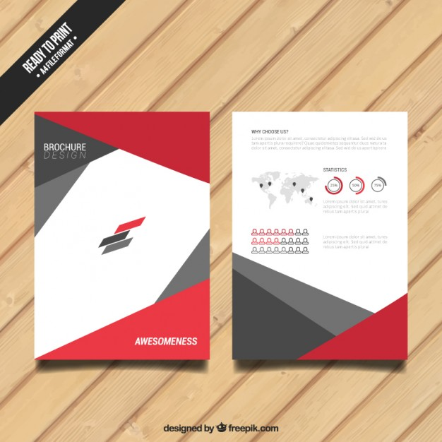 Brochure with red and grey elements