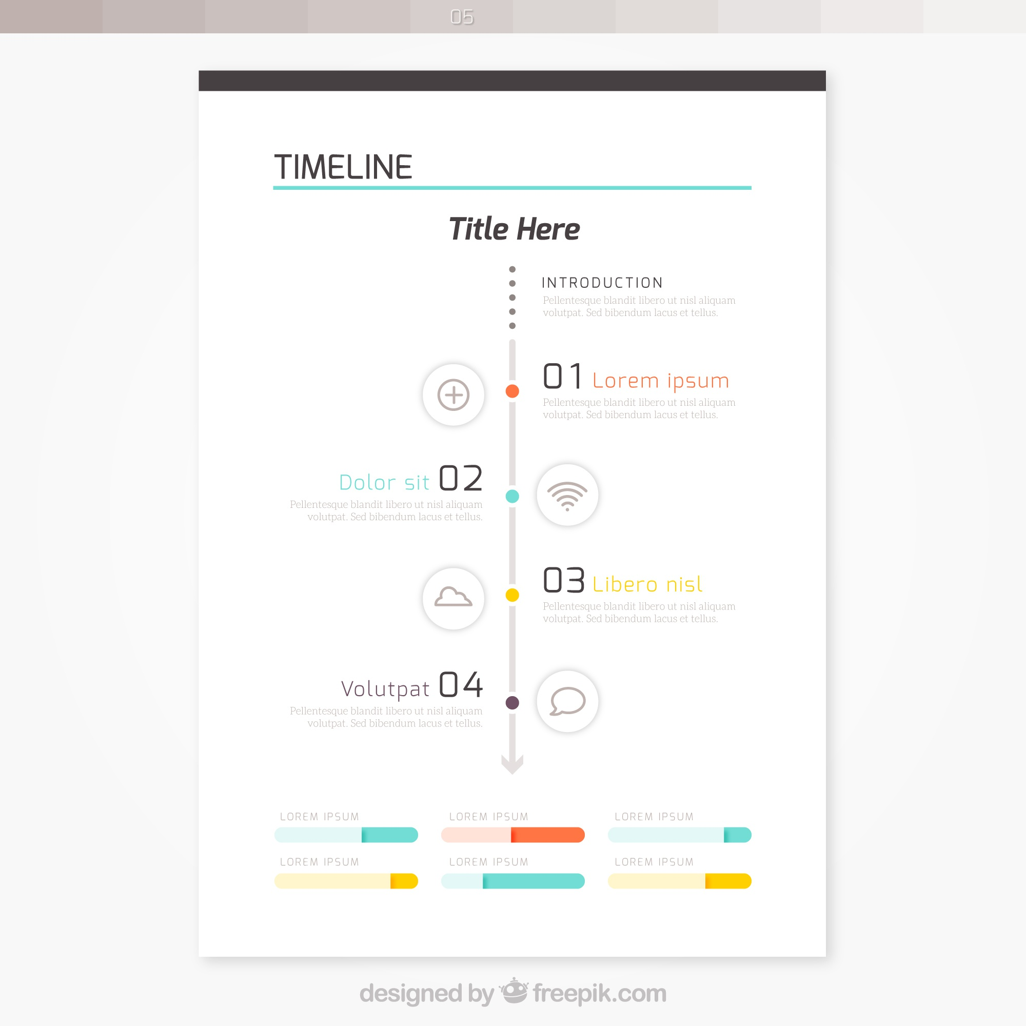 brochure with timeline infographic