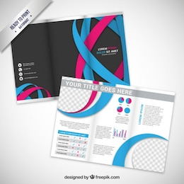 Brochure with wavy lines