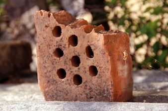 Broken rusted brick abandoned web
