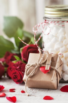 Brown gift with rope and a heart