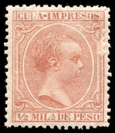 brown king alfonso xiii stamp  paper