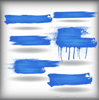 Brush strokes banner background vector set