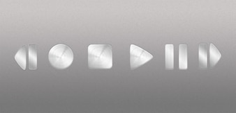 brushed metal video audio controls psd