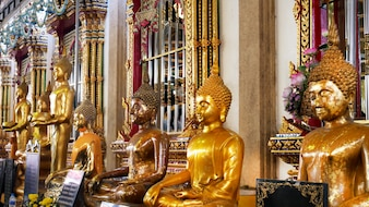 Buddha Images at Temple in Thailand