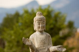 Buddha statue, smiling