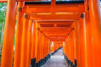 Buddhist torii orient passage vintage