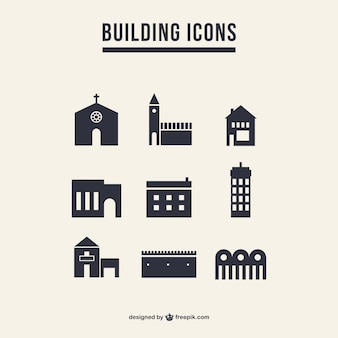 Building icons silhouette pack