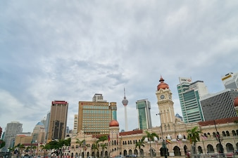 Building of a city with cloudy sky