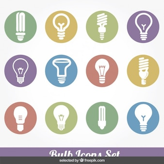 Bulb colorful icons set